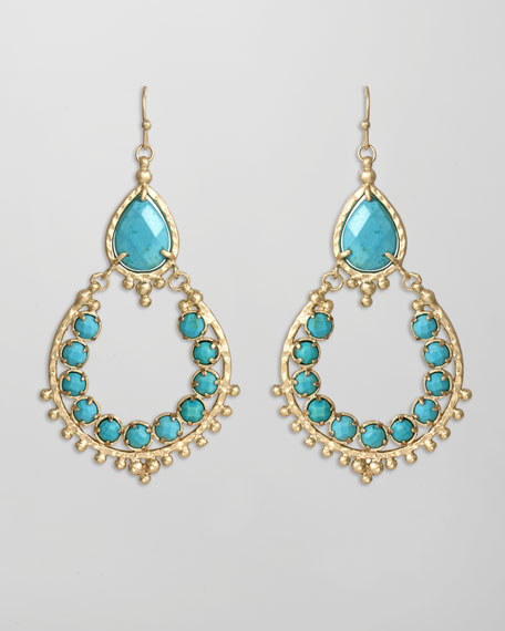 Multi Stone Drop-Hoop Earrings