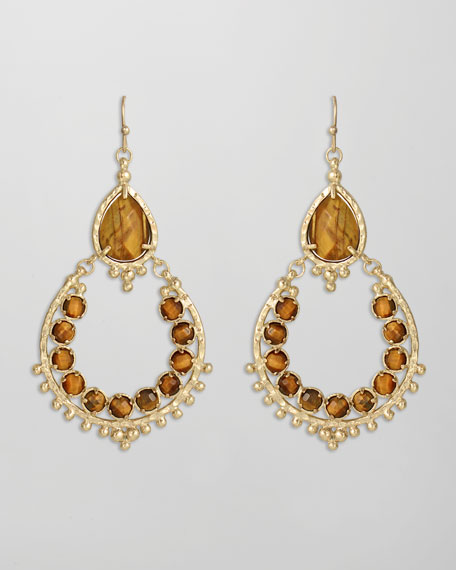 Gaia Earrings, Tiger's Eye