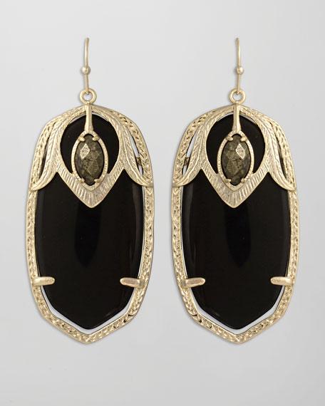 Darby Peacock Earrings, Black