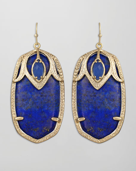 Darby Peacock Earrings, Blue