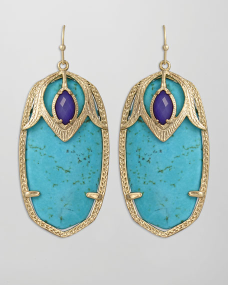 Darby Peacock Earrings, Turquoise