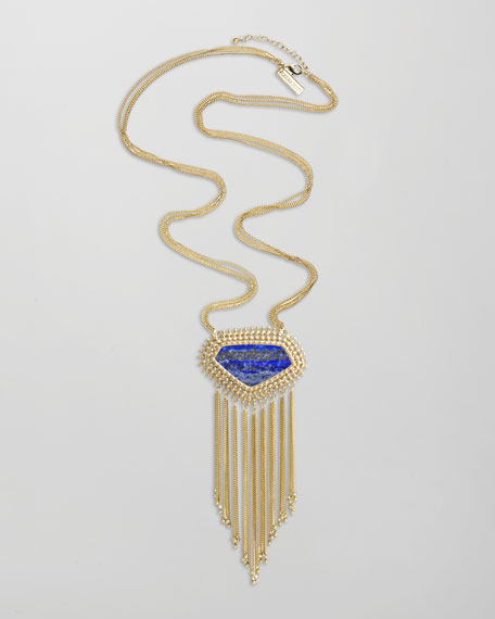 Lapis Fringe Pendant Necklace