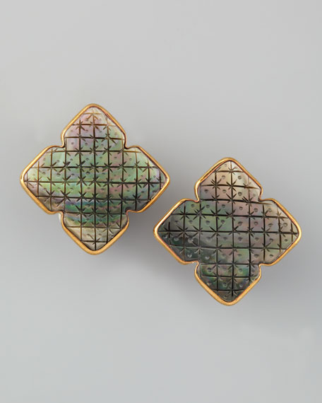 Carved Mother-of-Pearl Clip Earrings