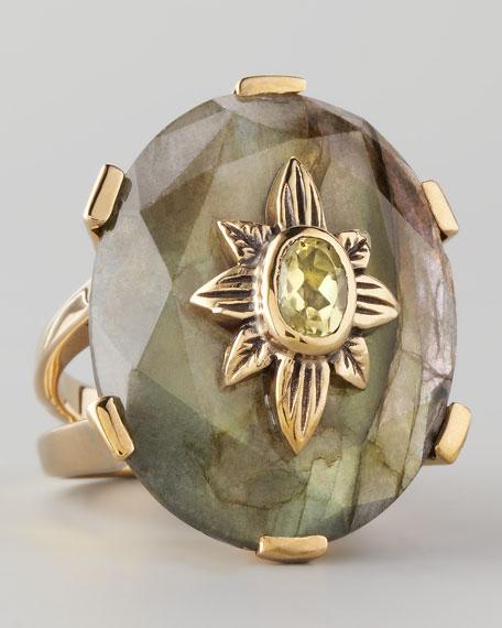 Labradorite Flower Ring