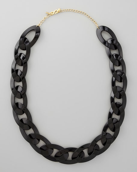 Enamel Link Necklace, Black