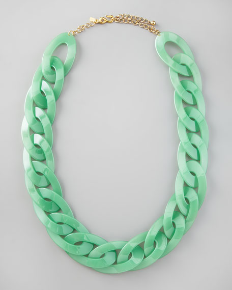 Enamel Link Necklace, Green