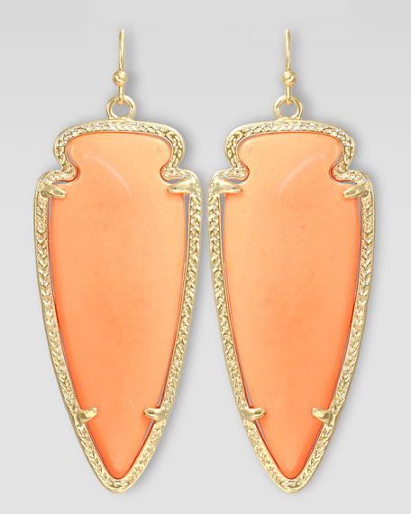 Skylar Arrow Earrings, Salmon