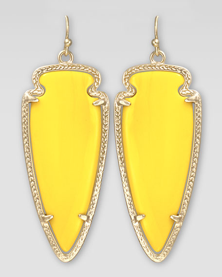 Skylar Arrow Earrings, Yellow