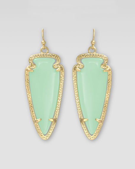 Small Sky Arrow Earrings, Chalcedony