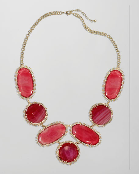 Nina Necklace, Pink Agate