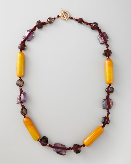 Knotted Long Multi-Stone Necklace, Purple