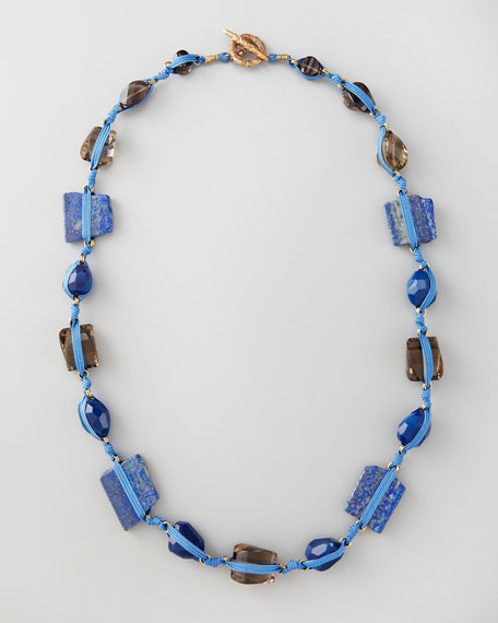 Knotted Long Multi-Stone Necklace, Blue
