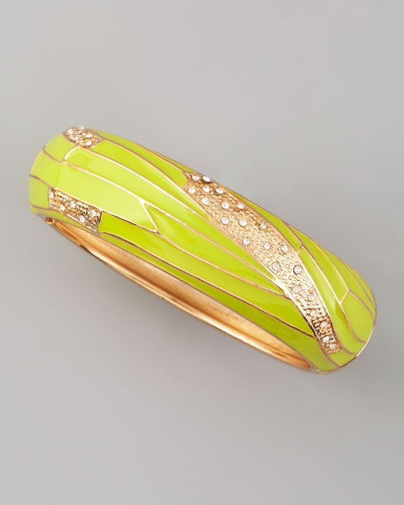 Wide Insect-Wing Bangle, Green