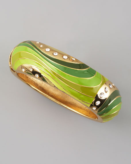 Wide Swirl Bangle, Green