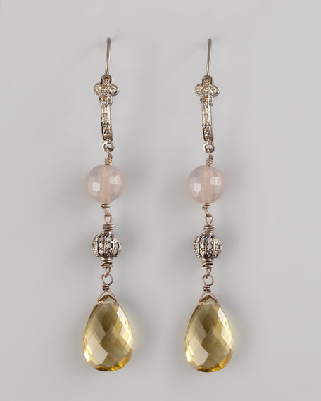 Citrine & Pearl Drop Earrings