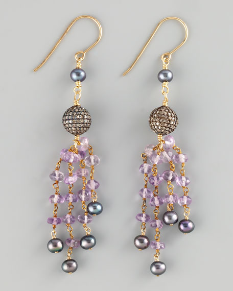 Amethyst & Pearl Drop Earrings
