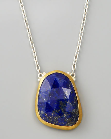 "Faceted Lapis Pendant Necklace, 18""L"