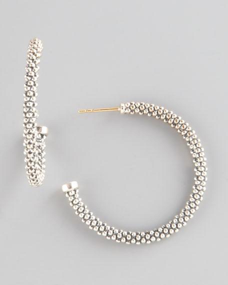"Thin Caviar Hoop Earrings, 1"""