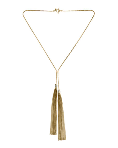 Tassel Lariat Necklace, Golden