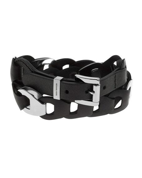 Leather Double-Wrap Bracelet, Silver Color