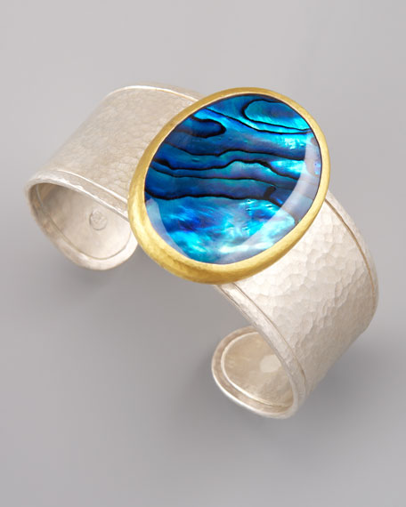 Paua Shell Mixed-Metal Cuff