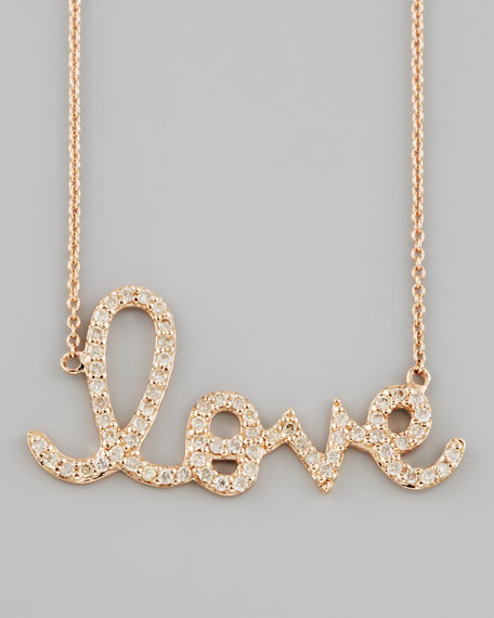 Rose Gold Diamond Love Necklace, Large