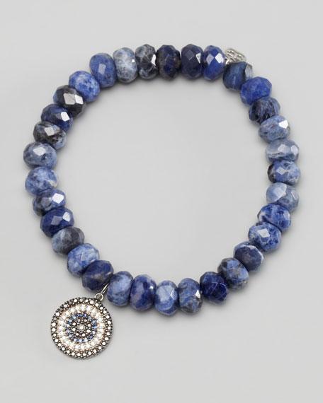 Diamond & Sapphire Charm Beaded Bracelet