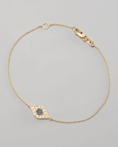 Diamond Evil Eye Bracelet, Yellow Gold