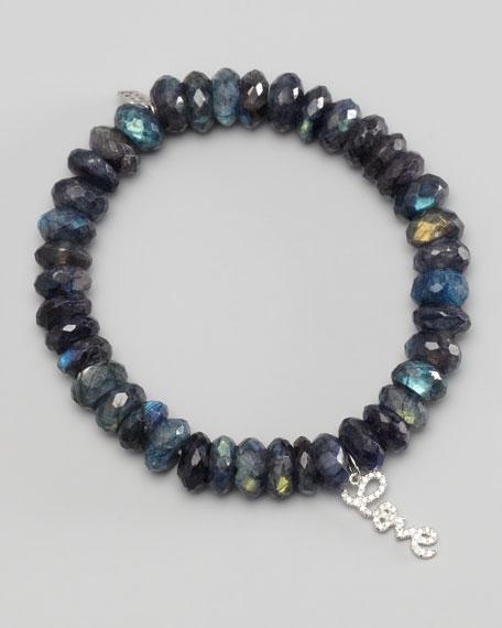 Diamond Love Charm Beaded Bracelet