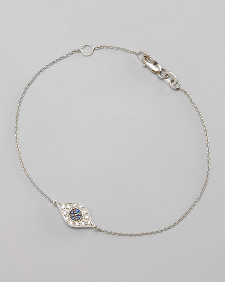 Diamond Evil Eye Bracelet, White Gold