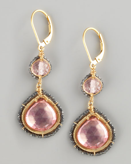 Pink Quartz Two-Drop Earrings
