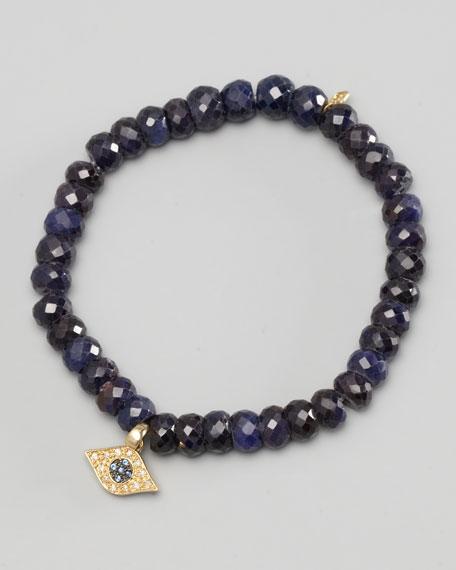 Diamond Evil Eye Charm Beaded Bracelet