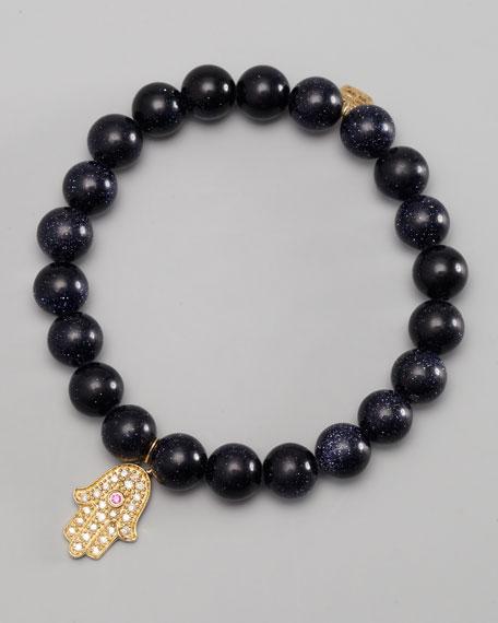 Diamond Hamsa Charm Beaded Bracelet, Black