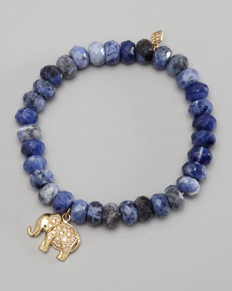 Diamond Elephant Charm Beaded Bracelet