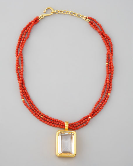 Three-Strand Coral Pendant Necklace
