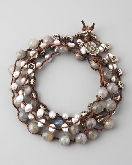 """Labradorite & Pearl Wrap Bracelet, 42""""L"""