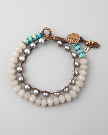Turquoise, Pearl & Crystal Bracelet, Gray
