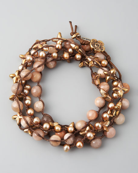 "Sunstone & Pearl Wrap Bracelet, 42""L"