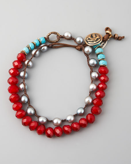 Turquoise, Pearl & Crystal Bracelet, Red