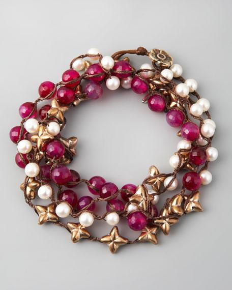 "Agate & Pearl Wrap Bracelet, 42""L"