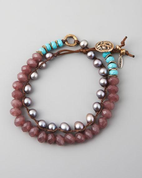 Turquoise, Pearl & Crystal Bracelet, Purple