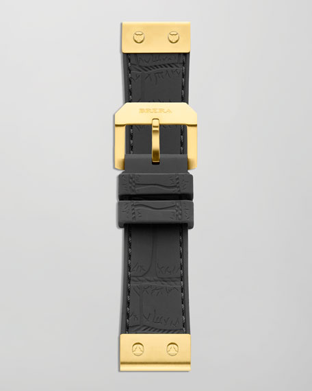 22mm Crocodile-Embossed Jelly Watch Strap, Black/Golden