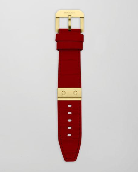 Red Alligator Watch Strap, Yellow Gold