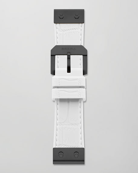 22mm Crocodile-Embossed Jelly Watch Strap, White