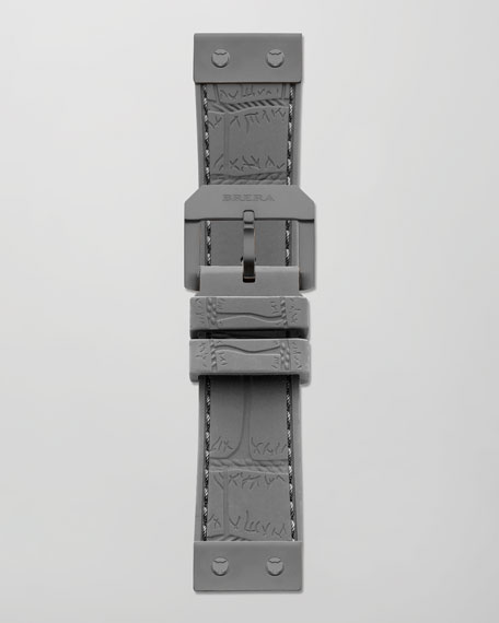 22mm Crocodile-Embossed Jelly Watch Strap, Gray