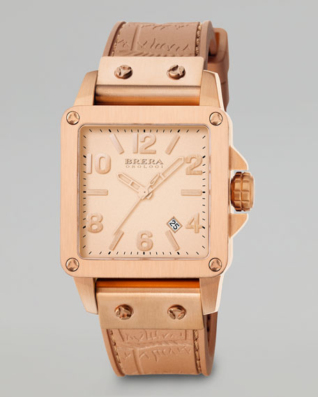 Stella, Rose Gold Tonal Watch, Silicone Strap