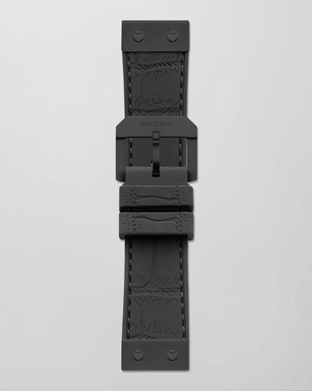 22mm Crocodile-Embossed Jelly Watch Strap, Black