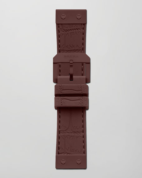 22mm Crocodile-Embossed Jelly Watch Strap, Brown