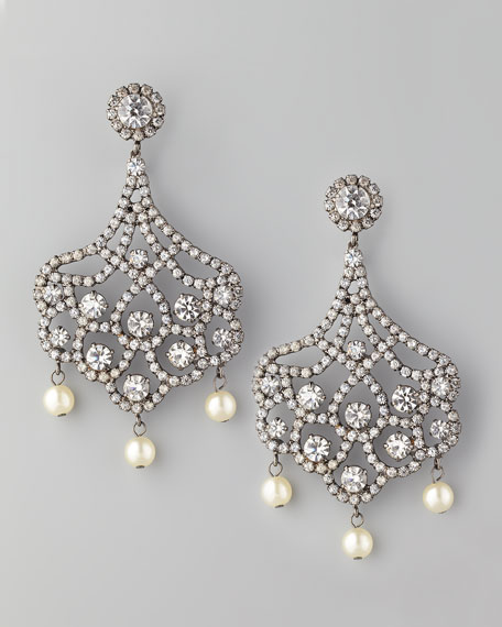 Pave Crystal & Pearl Clip Earrings