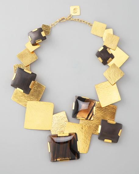 Gold Multi-Stone Square-Station Necklace